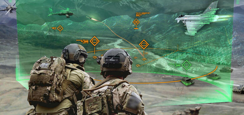Army researchers envision information dynamics and mediation for multi-echelon communication between cross-reality systems, robot agents and distributed command. (U.S. Army)