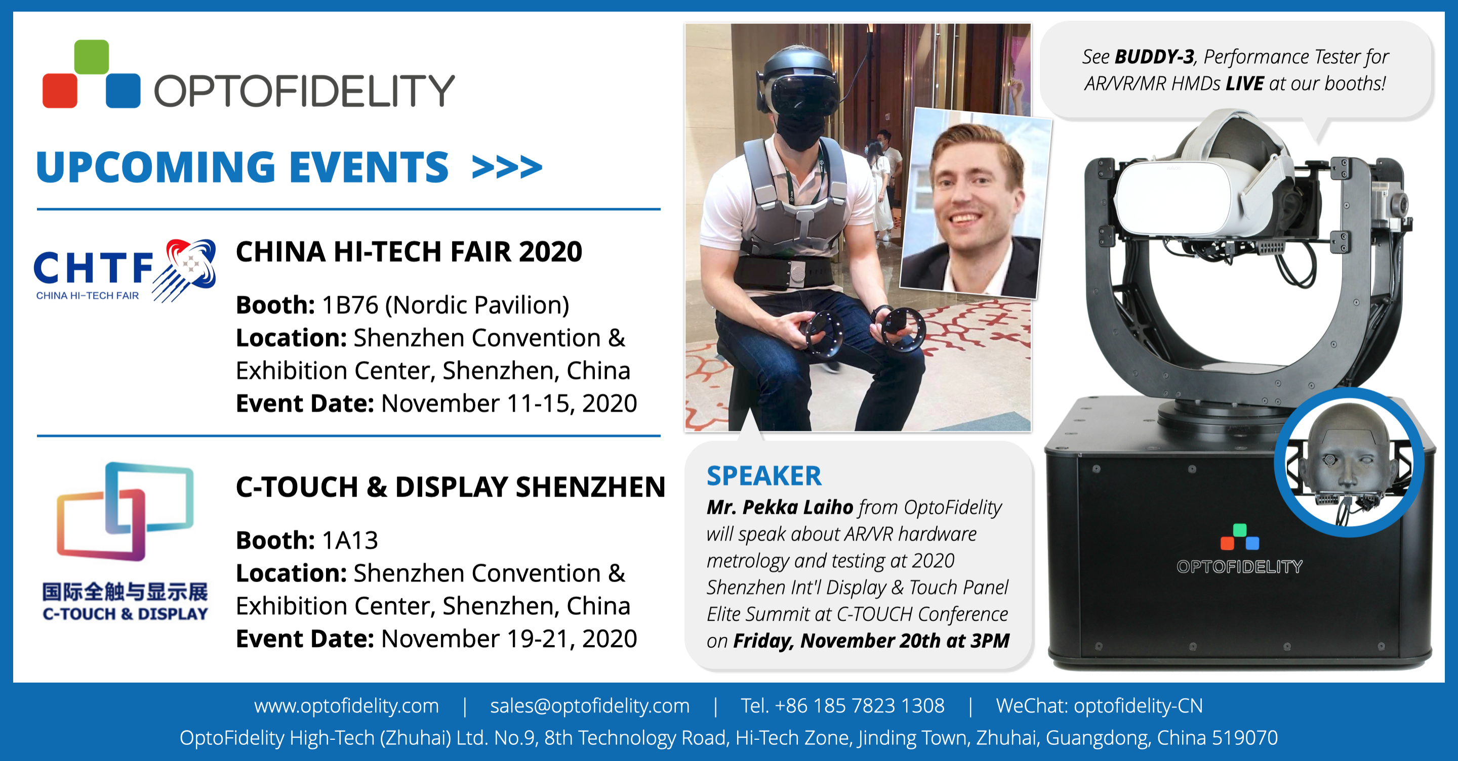 OptoFidelity at CHTF and C-TOUCH & DISPLAY in Shenzhen, China in 2020